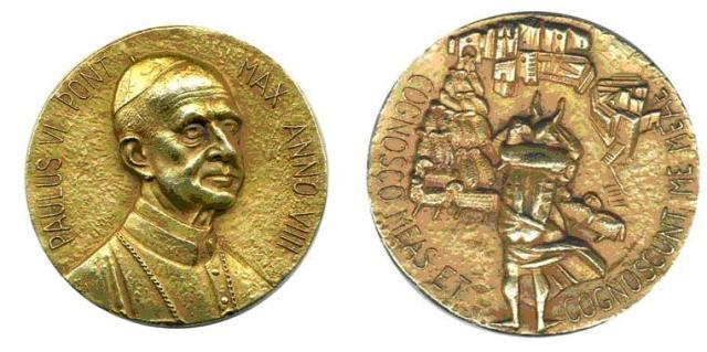 A Medalha de Ouro que Bacchiocchi ganhou em História Eclesiástica