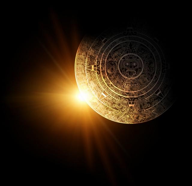 Sun and Maya calendar. 3d render