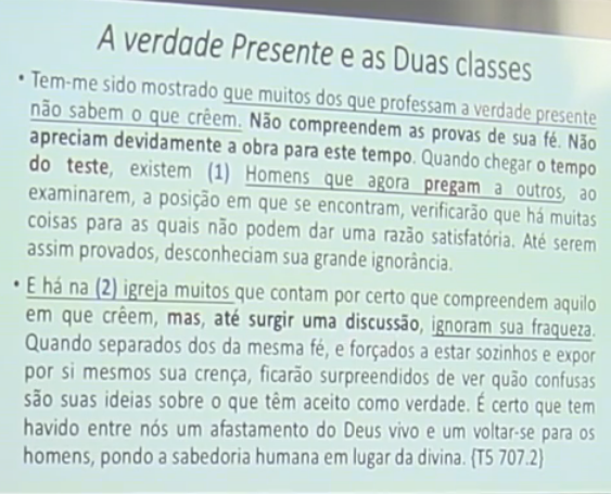 verdade presente classes